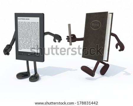 relay between old book and electronic book reader, the concept of innovation tecnology - stock photo