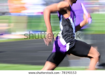 Relay race (motion blur) - stock photo
