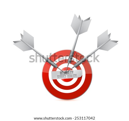 reliability service quality target illustration design over a white background - stock photo