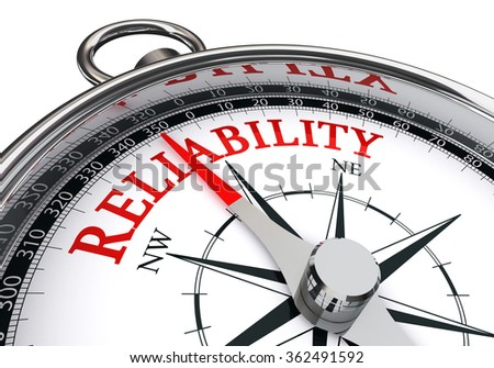 Reliability word on motivation compass concept, isolated on white background