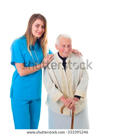 Reliable nursing home services: elderly patient and young caregiver.