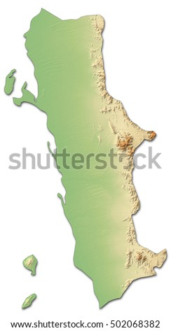 Relief Map Al Hudaydah Yemen 3drendering Stock Illustration