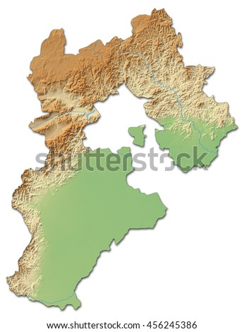 Relief map - Hebei (China) - 3D-Rendering - stock photo