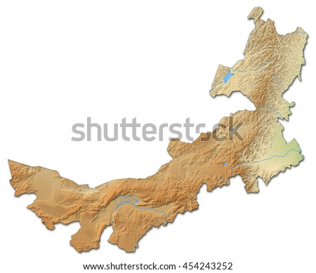 Relief map - Inner Mongolia (China) - 3D-Rendering - stock photo