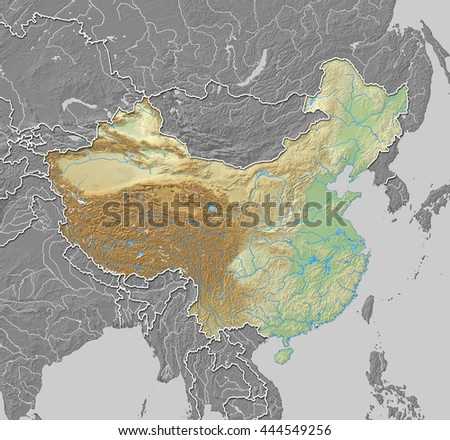 Relief map of China - 3D-Rendering - stock photo