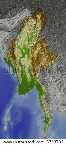 Relief map of Myanmar (Burma).  Shows major cities and rivers, surrounding territory greyed out.  Colored according to height.