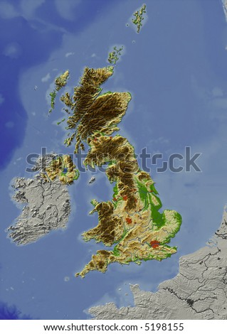 Relief map of United Kingdom.  Shows major cities and rivers, surrounding territory greyed out.  Colored according to height. - stock photo