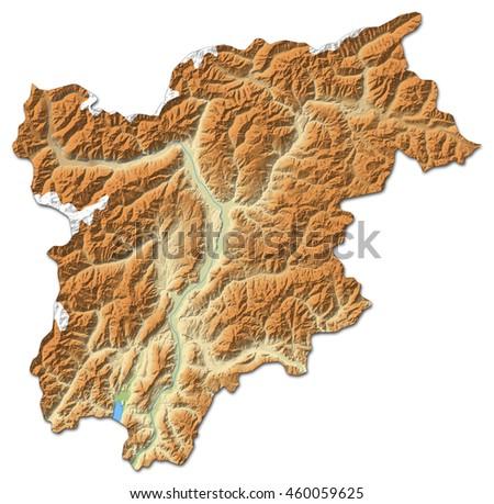 Relief Map Trentinoalto Adigesuedtirol Italy 3drendering Stock