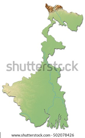 Relief map - West Bengal (India) - 3D-Rendering