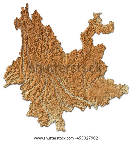 Relief map - Yunnan (China) - 3D-Rendering - stock photo
