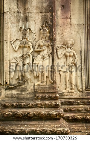 Relief of famous Angkor Wat temple complex, near Siem Reap, Cambodia. - stock photo