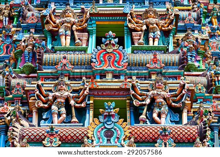 Relief of Menakshi Temple, Madurai, Tamil Nadu, India - stock photo