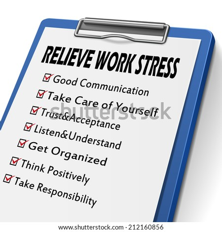 relieve work stress clipboard with check boxes marked for relieve stress concepts - stock photo