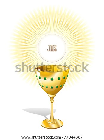 Religion Chalice Cup and Host - stock photo