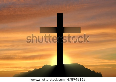 Religion Christianity. cross silhouette against the backdrop of a beautiful sunset