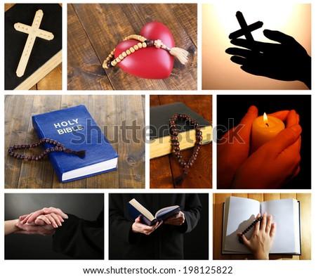 Religion collage - stock photo