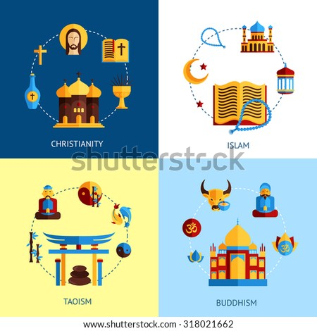 Religion design concept set with christianity islam taoism buddhism flat icons isolated  illustration