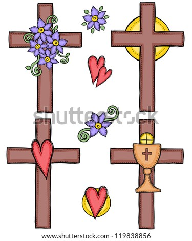 Religion - illustration of crosses with heart, flower, sun and chalice - stock photo