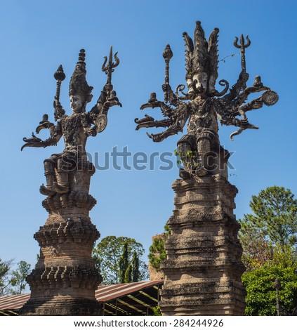 Religion scruptures in Sala Kaeo Kou (Wat Khaek), near Nong Khai, Thailand. - stock photo