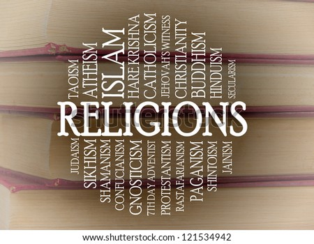 Religions word cloud with a books background - stock photo