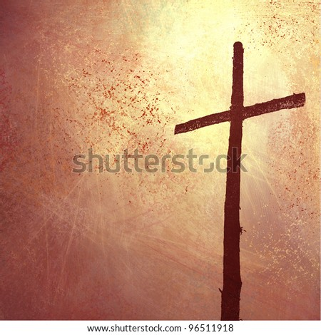 religious and inspiration Christian background with cross illustration for Easter or church bulletin with copyspace