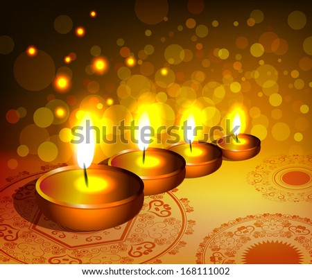 Religious background for diwali festival with lamps. Raster version of vector illustration