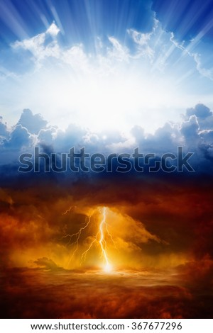 Religious background - heaven and hell, good and evil, light and darkness - stock photo
