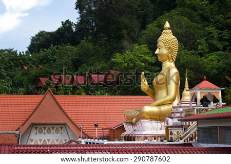 Religious big Buddha Statue,  Wat Khao Rang, Phuket  Thailand - stock photo
