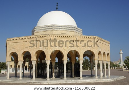 Religious building in the Mausoleum of Bourguiba in Tunisia in Africa in summer day