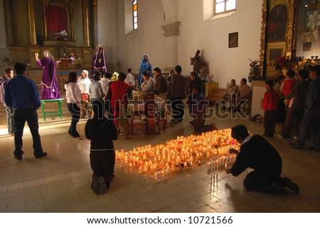 Religious Ceremony in a Catholic Church, Chiapas, Mexico - stock photo