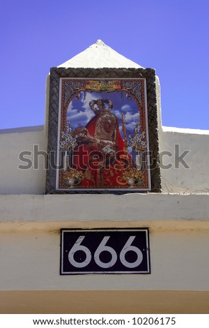 Religious coincidence of symbolism or just a house number? - stock photo