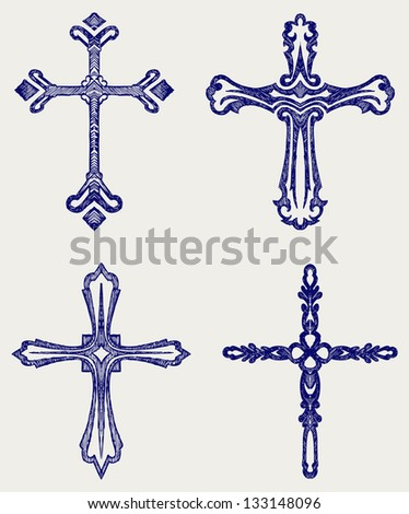 Religious cross design collection. Doodle style. Raster version - stock photo