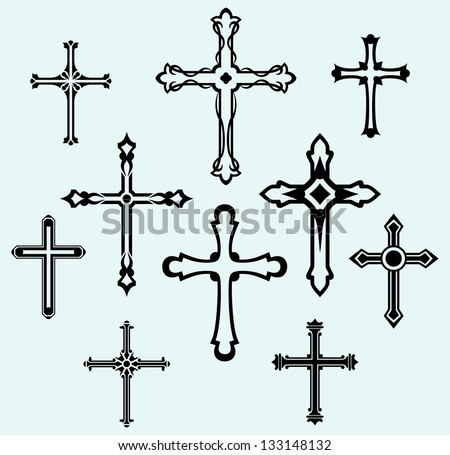 Religious cross design collection. Raster version