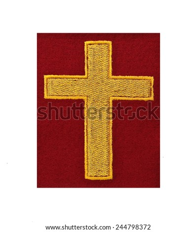 religious cross embroidered badge - stock photo