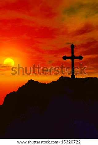 religious cross silhouette against a dramatic sunset