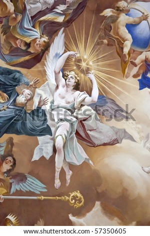religious fresco - stock photo