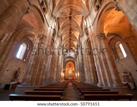 Religious landmark. Saint Peter's Church interior in Avila, Spain. - stock photo