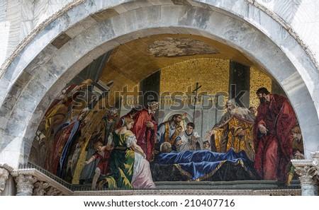 Religious miniature scene interior of temples in Venice - stock photo
