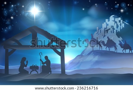 Religious Nativity Christian Christmas scene of baby Jesus in the manger with Mary and Joseph and the three wise men - stock photo