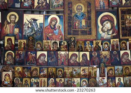 Religious orthodox icons - stock photo