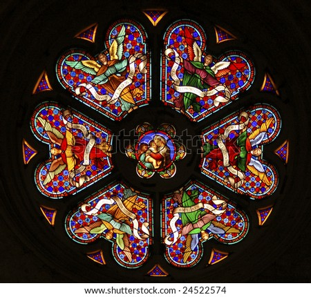 Religious stained glass - stock photo