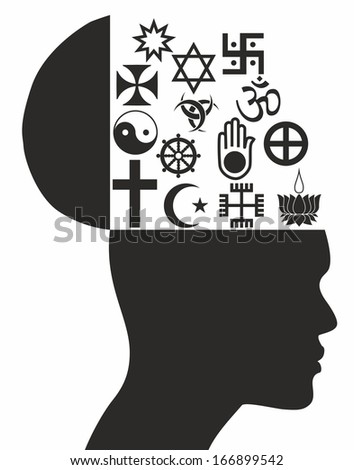Religious symbols - Stock Illustration - stock photo