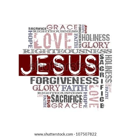 Religious Words isolated on white - stock photo