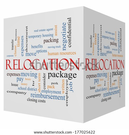 Relocation 3D cube Word Cloud Concept with great terms such as package, moving, expenses and more. - stock photo