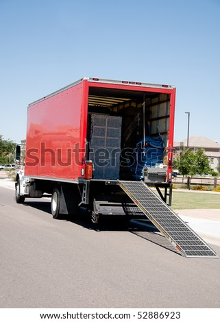 Relocation moving truck - stock photo