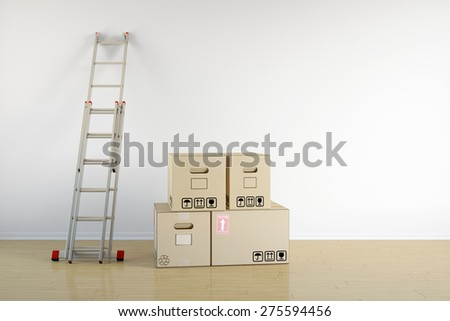 Relocation with moving boxes and ladder on a wall in empty room (3D Rendering) - stock photo