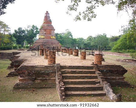 Remaining of Wat E-Kang, Wiang Kum Kam. Wiang Kum Kam is the ancient city, hope to be capital of Lanna Kingdom prior to Chiangmai. - stock photo