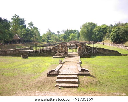 Remaining of Wat NanChang, Wiang Kum Kam. Wiang Kum Kam is the ancient city, hope to be capital of Lanna Kingdom prior to Chiangmai. - stock photo