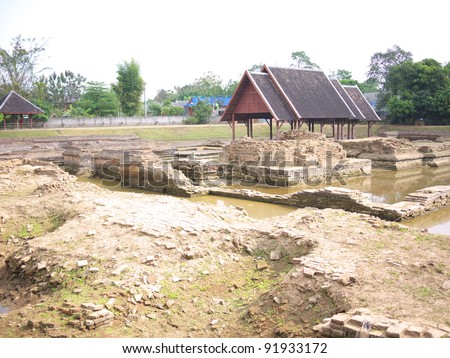 Remaining of Wat Padom, Wiang Kum Kam. Wiang Kum Kam is the ancient city, hope to be capital of Lanna Kingdom prior to Chiangmai. - stock photo