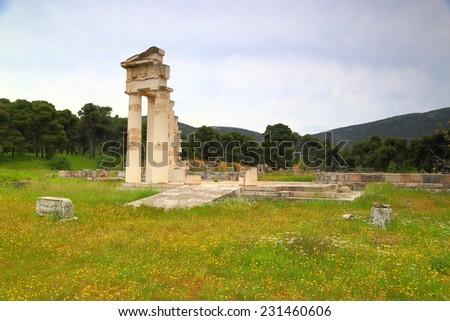 Remaining ruins of a sanctuary dedicated to Asclepius, Greek god of medicine, Epidaurus, Greece - stock photo